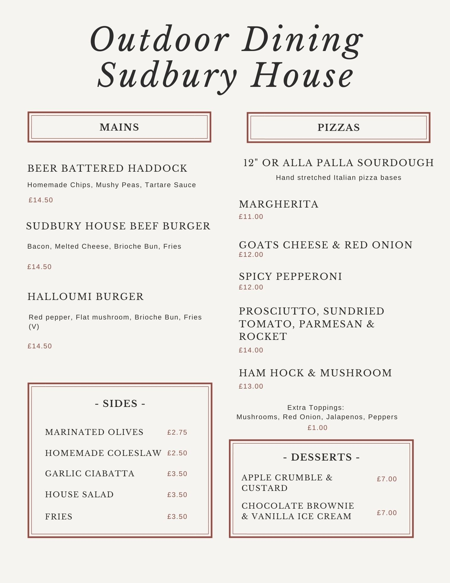 Outdoor dining menu
